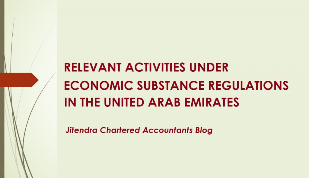 RELEVANT ACTIVITIES UNDER ECONOMIC SUBSTANCE REGULATIONS